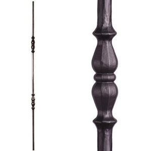 Metal Railing | Wrought Iron Spindle | 2.1.7 Tuscan Round Hammered Double Long Knuckle Satin Black | Iron Balusters