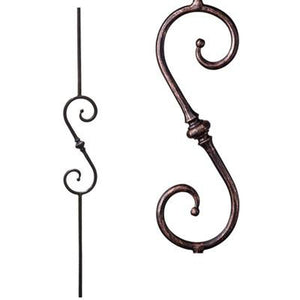Metal Railing | Wrought Iron Spindle | 2.1.8 Tuscan Round Hammered Single Knuckle S Scroll| Iron Balusters