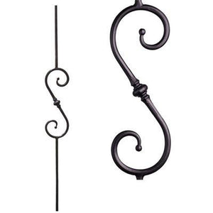 Metal Railing | Wrought Iron Spindle | 2.1.8 Tuscan Round Hammered Single Knuckle S Scroll Satin Black| Iron Balusters