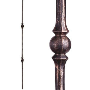 Metal Railing | Wrought Iron Spindle | 2.10.3 Tuscan Round Hammered Double Sphere Oil Rubbed Bronze| Iron Balusters