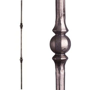2.10.3 Tuscan Round Hammered Double Sphere Satin Clear| Iron Balusters