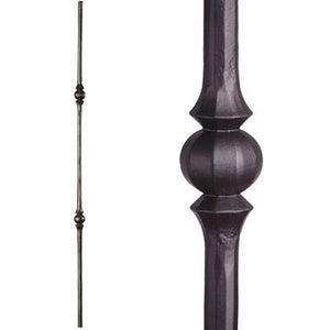 2.10.3 Tuscan Round Hammered Double Sphere Satin Black| Iron Balusters