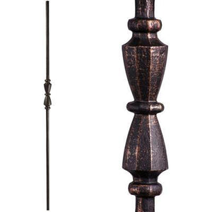 Metal Railing | Wrought Iron Spindle | 2.11.40 Tuscan Round Hammered Single Hourglass | Iron Balusters