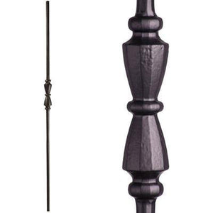 Metal Railing | Wrought Iron Spindle | 2.11.40 Tuscan Round Hammered Single Hourglass Satin Black| Iron Balusters