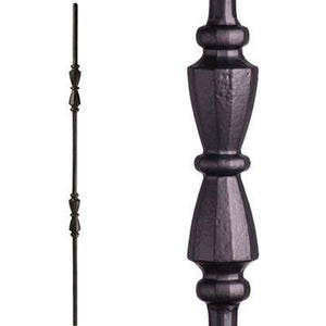 Metal Railing | Wrought Iron Spindle | 2.11.41 Tuscan Round Hammered Double Hourglass Satin Black| Iron Balusters