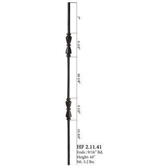 Metal Railing | Wrought Iron Spindle | 2.11.41 Tuscan Round Hammered Double Hourglass Iron Baluster