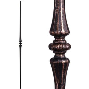 Metal Railing | Wrought Iron Spindle | 2.6.7 Tuscan Round Hammered Tapered Knuckle Oil Rubbed Bronze| Iron Balusters