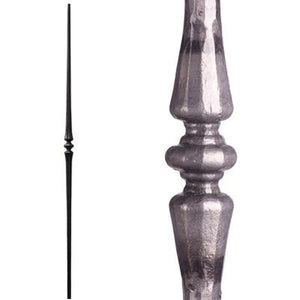 Metal Railing | Wrought Iron Spindle | 2.6.7 Tuscan Round Hammered Tapered Knuckle Satin Clear| Iron Balusters