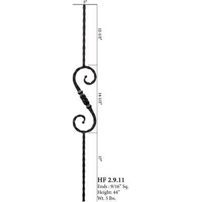 Metal Railing | Wrought Iron Spindle | 2.9.11 Tuscan Square Hammered Single Knob Iron Baluster