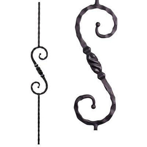 Metal Railing | Wrought Iron Spindle | 2.9.11 Tuscan Square Hammered Single Knob | Iron Balusters