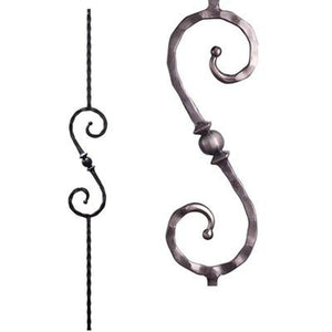 Metal Railing | Wrought Iron Spindle | 2.9.27 Tuscan Square Hammered Single Sphere S Scroll| Iron Balusters