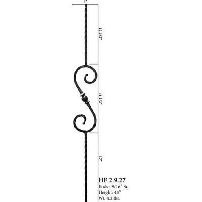 Metal Railing | Wrought Iron Spindle | 2.9.27 Tuscan Square Hammered Single Sphere S Scroll Iron Baluster