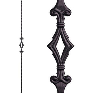 Metal Railing | Wrought Iron Spindle | 2.9.3 Tuscan Square Hammered Single Diamond | Iron Balusters