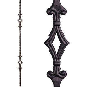 Metal Railing | Wrought Iron Spindle | 2.9.4 Tuscan Square Hammered Double Diamond | Iron Balusters