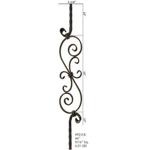 Metal Railing | Wrought Iron Spindle | 2.9.8 Tuscan Square Hammered S Scroll| Iron Balusters