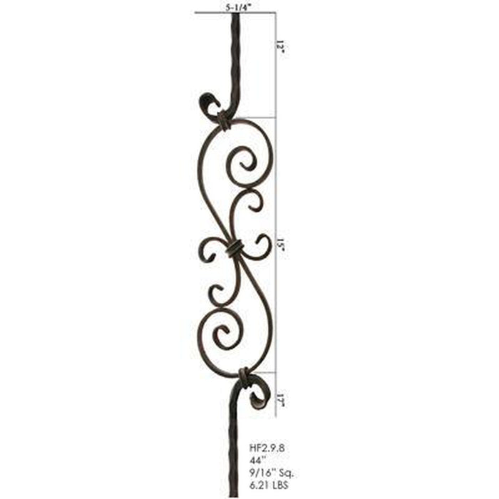 Metal Railing | Wrought Iron Spindle | 2.9.8 Tuscan Square Hammered S Scroll Iron Baluster