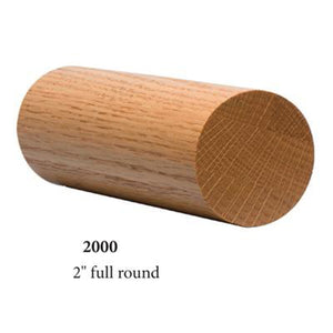 "Wood Railings | Banister | 2000 2"" Round Solid Wall Rail-Wall Rails & Wall Rail Fittings-Amish Craft by StepUP Stair Parts"