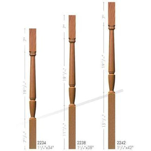 Baluster Spindle | Wood Railings | USA Crafted 2234 Square Top Baluster-Turned Newels & Balusters-Amish Craft by StepUP Stair Parts