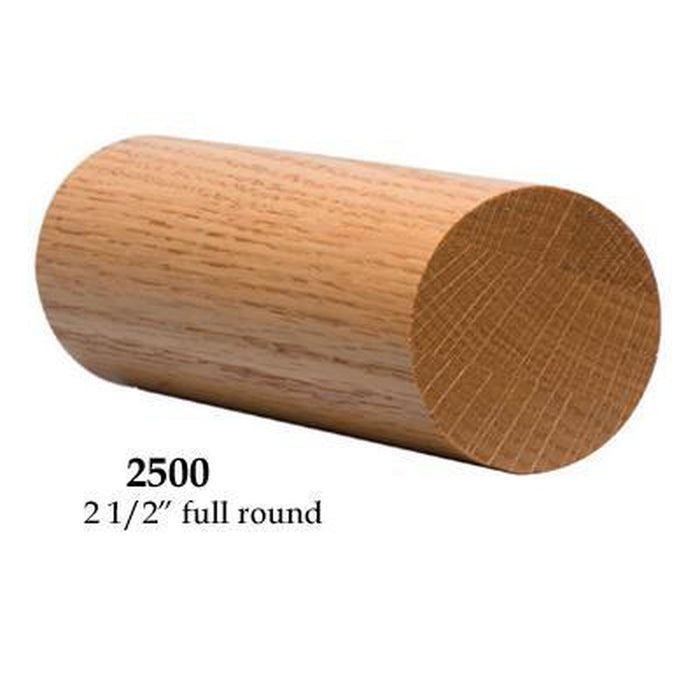 "Wood Railings | Banister | 2500 2 1/2"" Round Solid Wall Rail"