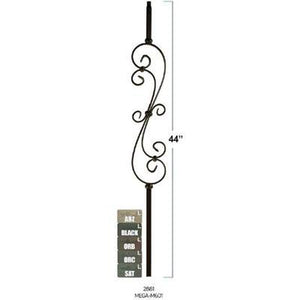 Metal Railing | Wrought Iron Spindle | MEGA M601 5 1/2 x 27 S Scroll Iron Baluster-WM Coffman by StepUP Stair Parts