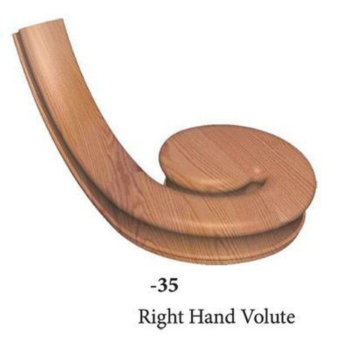 Wood Railings | Banister | 7635 Right Hand Volute Handrail Fitting