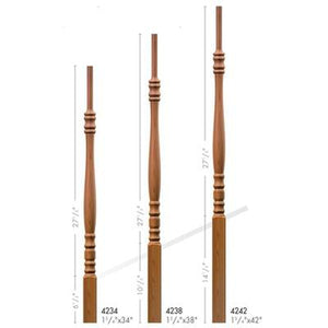 Baluster Spindle | Wood Railings | USA Crafted 4234 Pin Top Baluster-Turned Newels & Balusters-Amish Craft by StepUP Stair Parts