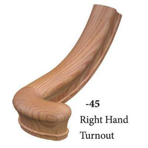 Wood Railings | Banister | 7045 Right Hand Turnout Handrail Fitting-Handrails & Handrail Fittings-Amish Crafted by StepUP Stair Parts