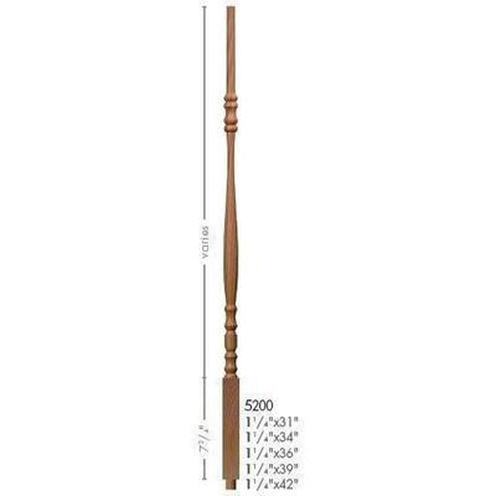 Baluster Spindle | Wood Railings | USA Crafted 5200 Pin Top Baluster