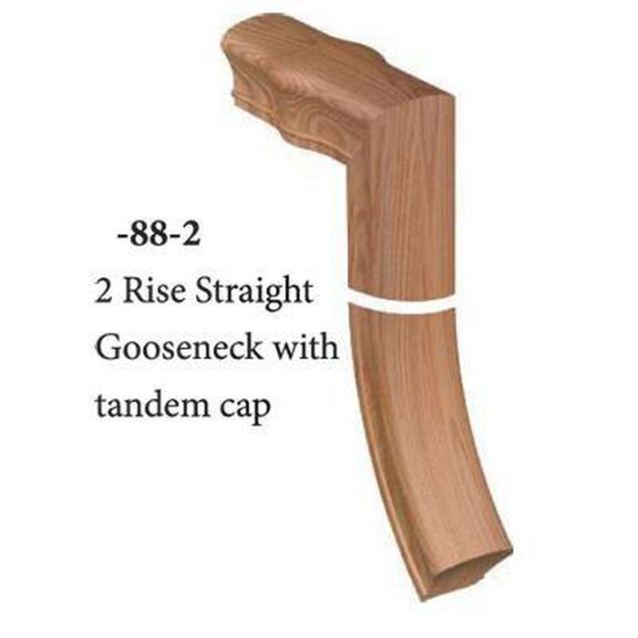 7288-2 2 Rise Straight Gooseneck with Tandem Cap Handrail Fitting  | Amish Wood Railings | Banister