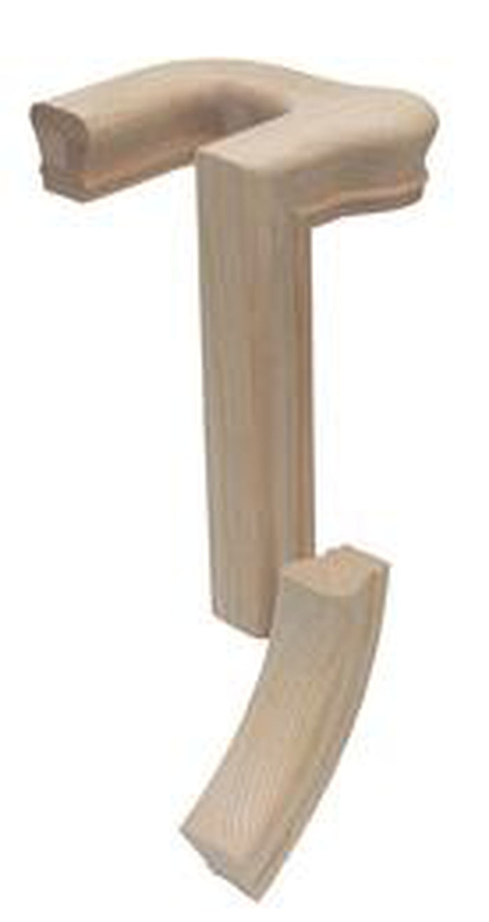 5691-2 Left Hand 2 Rise 180 Turn Gooseneck with Cap Handrail Fitting  | Amish Wood Railings | Banister