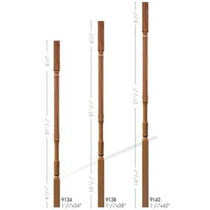 Baluster Spindle | Wood Railings | USA Crafted 9134 Square Top Baluster-Turned Newels & Balusters-Amish Craft by StepUP Stair Parts