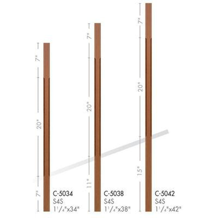Baluster Spindle | Wood Railings | USA Crafted C-5034 Chamfered Square Baluster