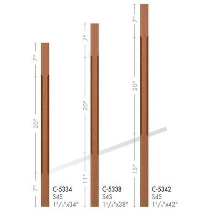 Baluster Spindle | Wood Railings | USA Crafted C-5334 Chamfered Square Baluster