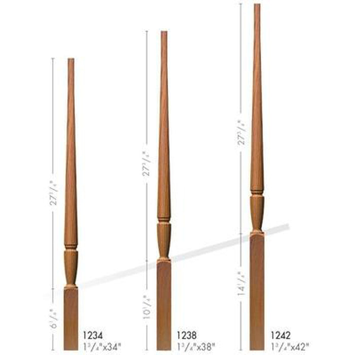Baluster Spindle | Wood Railings | USA Crafted O-1234 Pin Top Octagonal Baluster