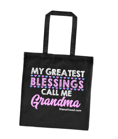 My Greatest Blessings Call Me Grandma Tote Bag - Black Cotton Canvas