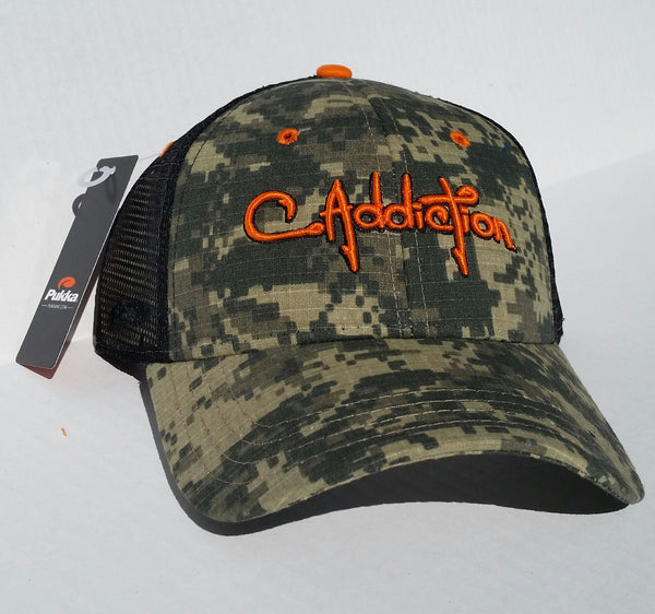 C Addiction Mesh Digital Camo Hat- Orange