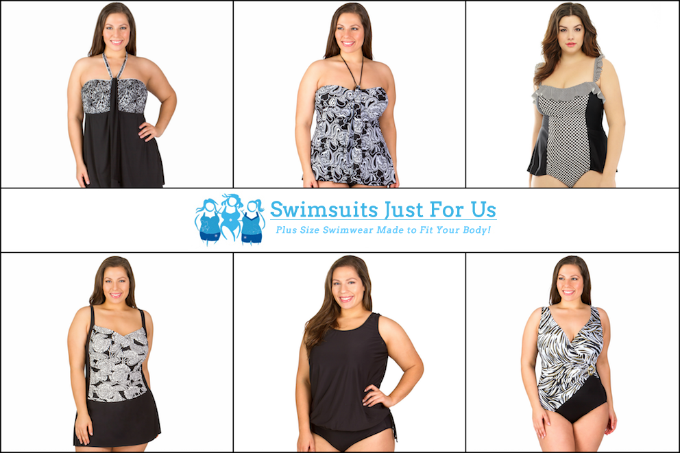Plus Size Women's Swimwear, Plus Size Women's Swimsuits, Black & White Swimsuits, Black & White Bathing Suits