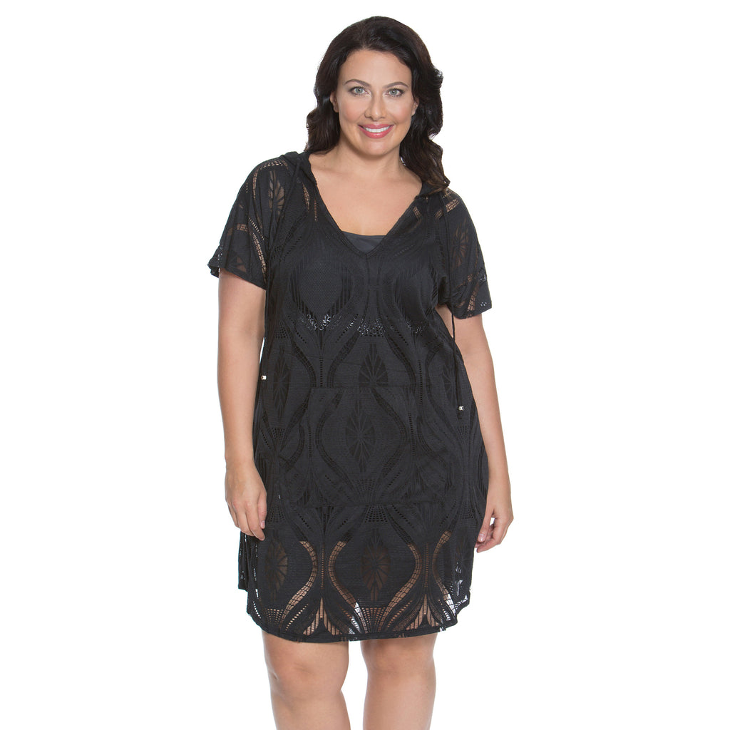f1cd68c61a Dotti Plus Size Cover-up -Black-Front View