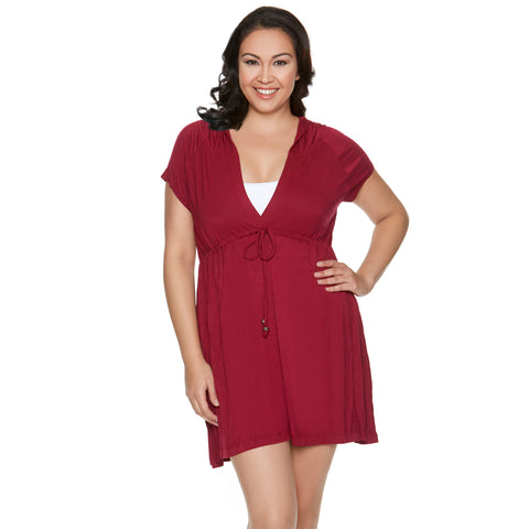 Plus Size Swim Cover Up - Sunset Brights  - Burgundy