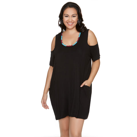 Women's Plus Size Swim Cover Up with Embroidered Neckline -Black