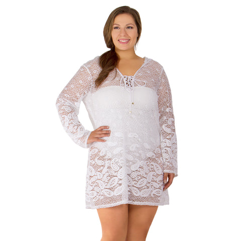 Riviera Paisley Women's Plus Size Cover-Up from Dotti - Available in WHITE and BLACK