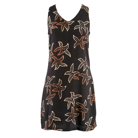 Easy On Plus Size Sundress -Black/Tan Starfish