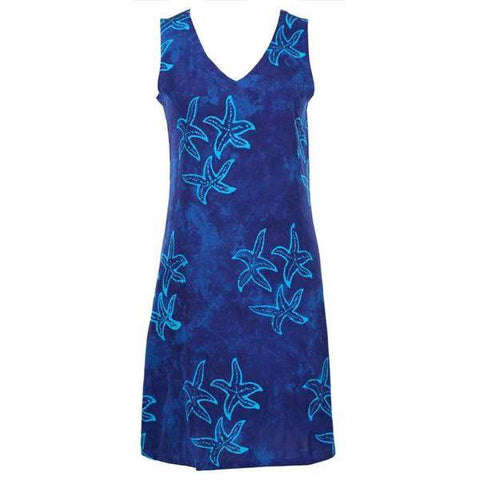 Plus Size Swim Cover Up - Easy On Cover Up Dress - Royal Starfish
