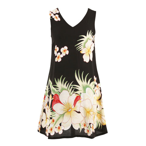 Easy On Plus Size Sundress -Black Floral