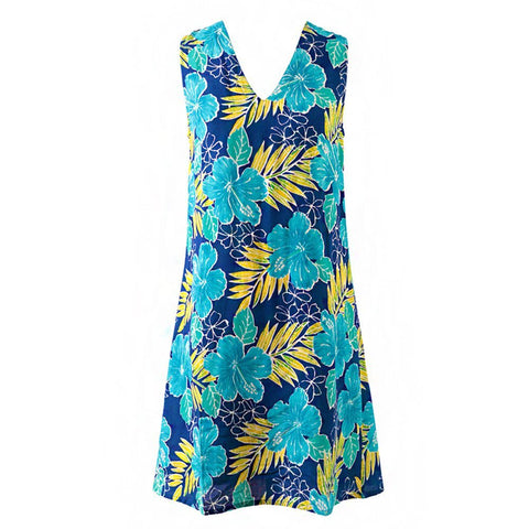 Easy On Plus Size Sundress - Blue Flowers