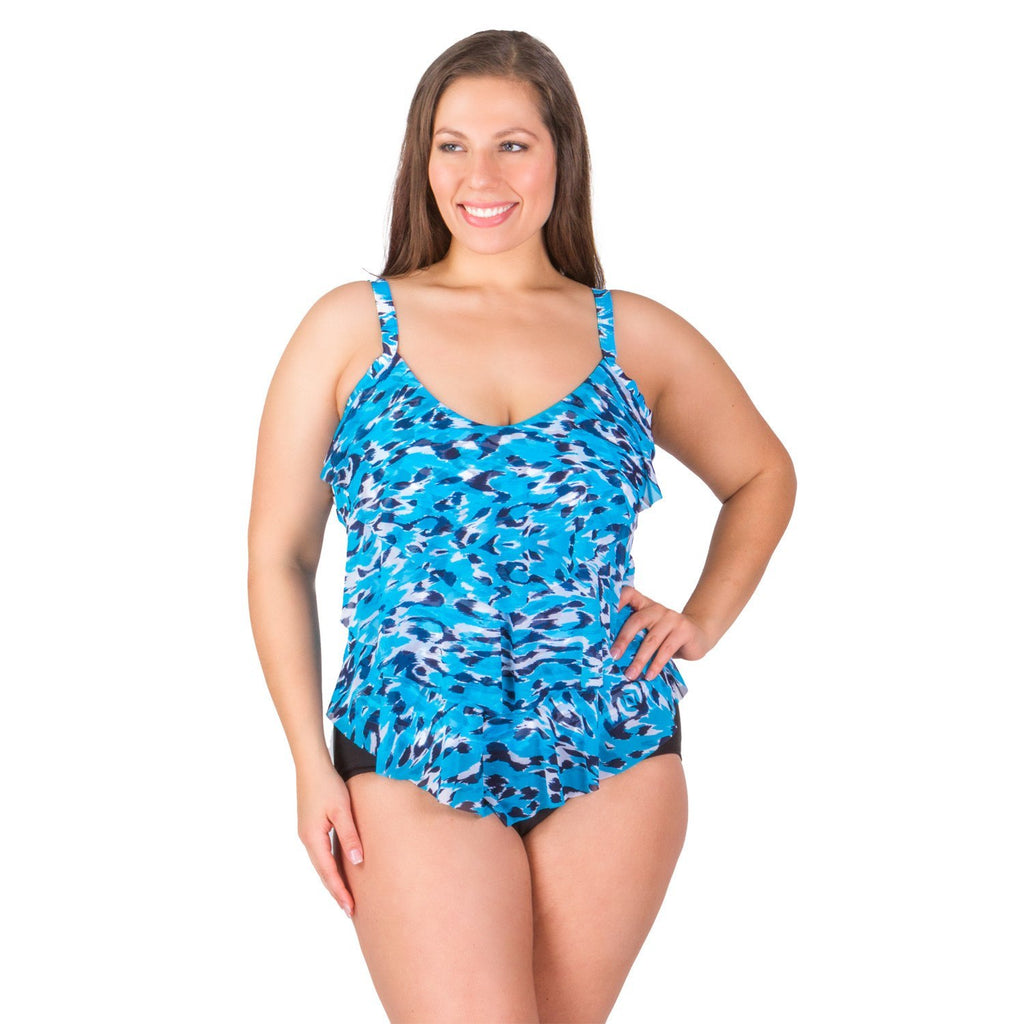 Farrah Leopard Triple Tier Mesh Plus Size Swimwear Top - Swim Separates - Mazu-SwimsuitsJustForUs.com - 1