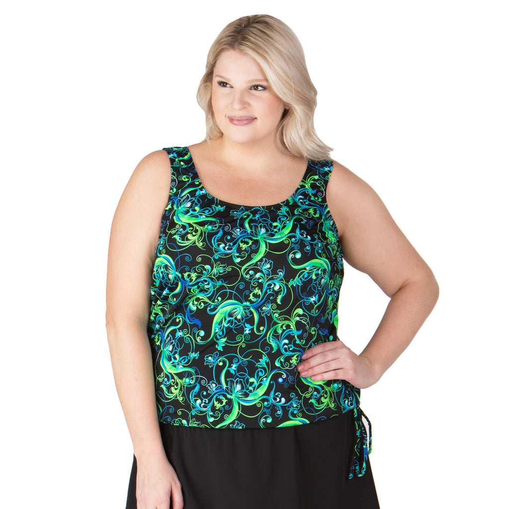 Day Dreaming Blouson Plus Size Swim Top - Lime - Swim Separates - Topanga-SwimsuitsJustForUs.com - Model
