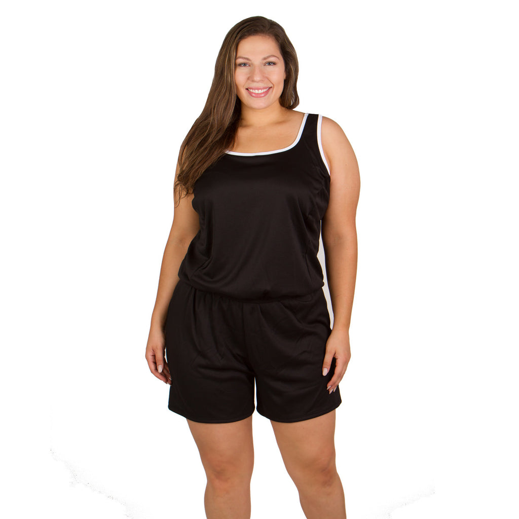 Plus Size Chlorine Resistant Swimsuits -  Polyester Two Piece with Short - Available in Black or Blue - Polyester - THE-SwimsuitsJustForUs.com in Sizes 16, 18, 20, 22, 24, 26, 28, 30, 32