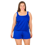 T.H.E. Swimwear - Chlorine Resistant Swimsuit -  Polyester Two Piece with Short - Front | SwimsuitsJustForUs.com