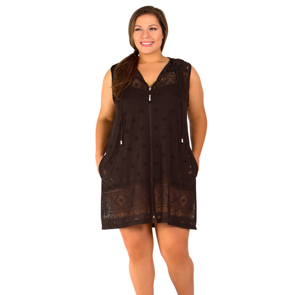 Sleeveless Plus Size Hoodie Cover Up By Dotti At Swimsuits